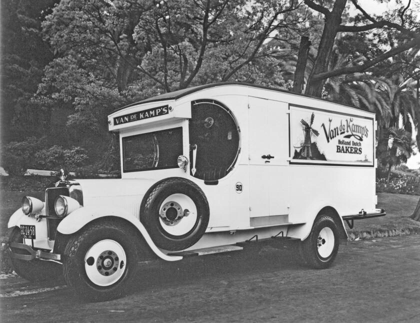 The Van de Kamp's Holland Dutch Bakeries Model T delivery truck in Pasadena in 1924.