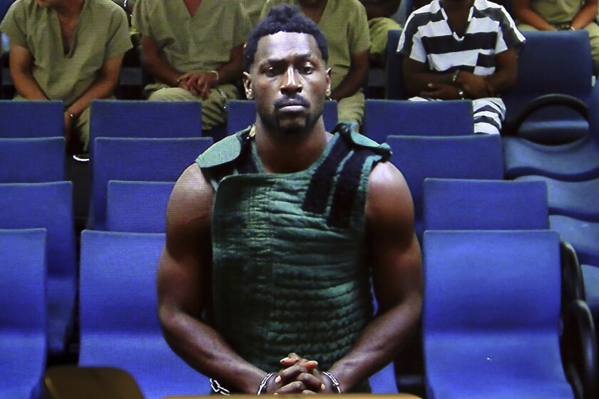 Antonio Brown appears at the Broward County Courthouse in Fort Lauderdale, Fla., via video link on Jan. 24.