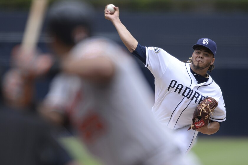 As the Padres peek at the rotation for 2020, an intriguing piece is Dinelson Lamet. He's shown throwing Tuesday against the Orioles at Petco Park.