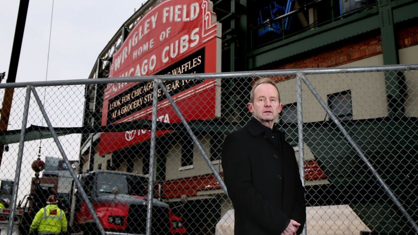 Ald. Tom Tunney, 44th, stands outside a construction fence at Wrigley Field on Nov. 29, 2018. Tunney has been a resident of Chicago's Wrigleyville area for 40 years and an alderman for 16 years.