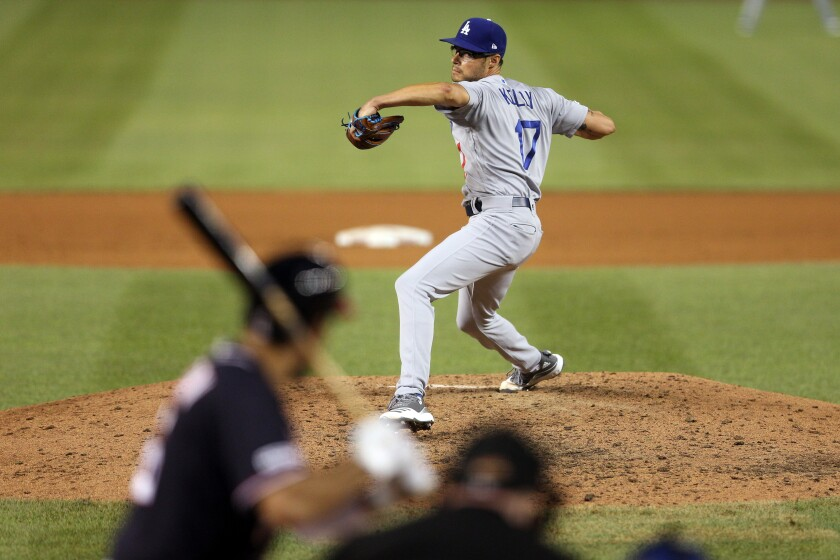 Dodgers reliever Joe Kelly delivers against the Washington Nationals on July 26.