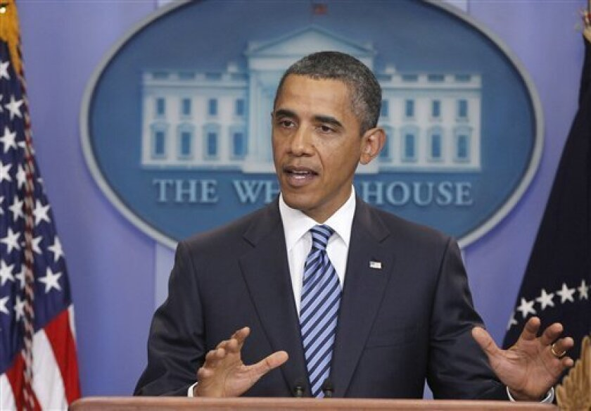 President Barack Obama makes a statement to reporters about debt ceiling negotiations, Tuesday, July 5, 2011, in the James Brady Press Briefing Room of the White House in Washington. (AP Photo/Charles Dharapak)