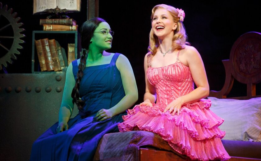 """Emma Hunton (left) and Chandra Lee Schwartz in the national touring production of the musical """"Wicked."""""""