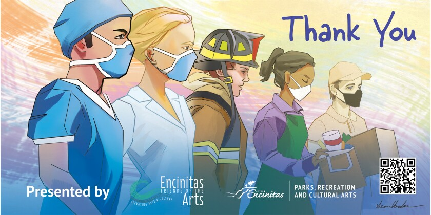 Artwork for Thank You Banners for the Frontline Workers project by Encinitas Friends of the Arts and local artists.