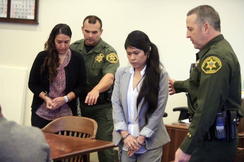 Vanesa Zavala, center, and Candace Brito, left, shown in a Santa Ana courtroom, were each sentenced to six years in prison for the beating death of 23-year-old Kim Pham outside a trendy Santa Ana nightclub.