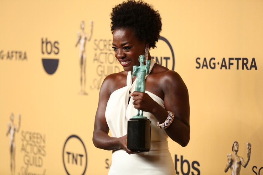 Viola Davis, backstage at the 21st Screen Actors Guild Awards, called for more diversity in Hollywood casting.