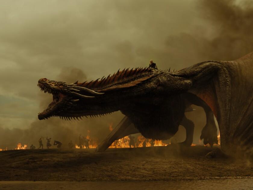 "Emilia Clarke as Daenerys Targaryen atop her dragon Drogon from the ""Game of Thrones"" episode ""The S"