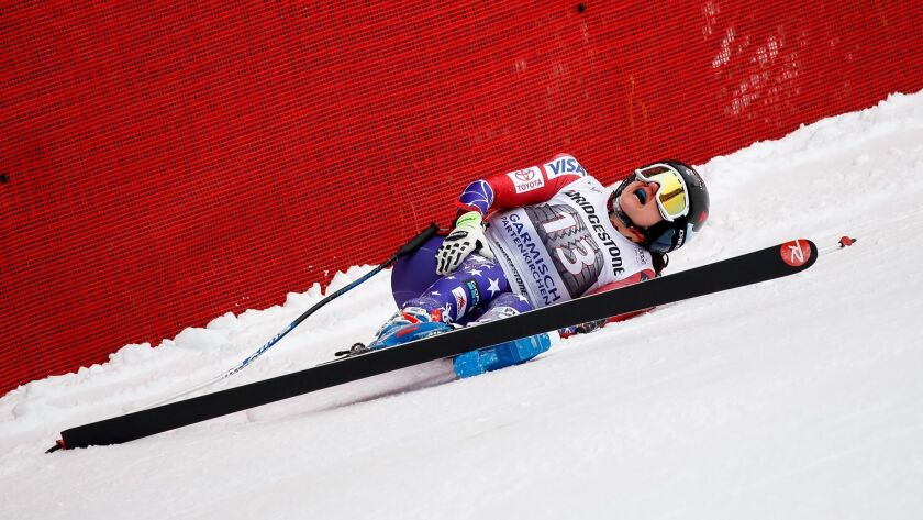 Jacqueline Wiles of the U.S. is shown moments after skidding out of bounds and suffering injuries during the downhill at Garmisch-Partenkirchen, Germany.