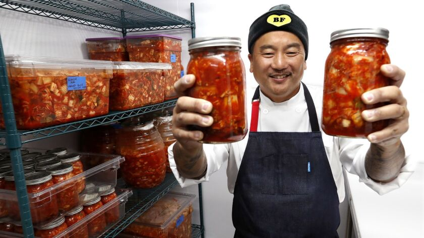 Chef Roy Choi is photographed inside the kimchi room at Best Friend.