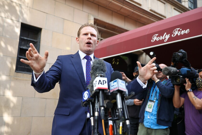 Andrew Giuliani, a candidate for governor in New York, speaks to the press in April