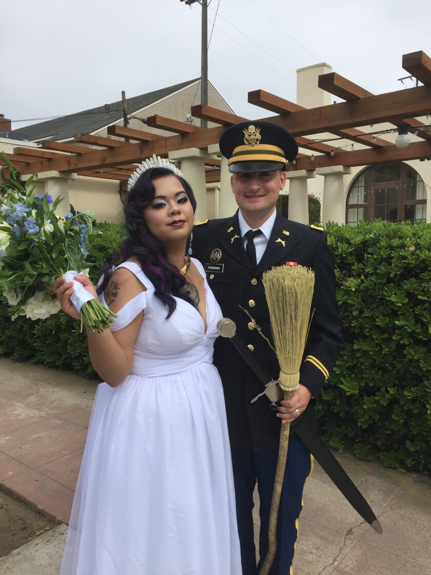 Thanks to his scooter ride, Levitan was able to meet U.S. Army Cadet Captain Shiloh Perenon and his lovely new bride, Lily.