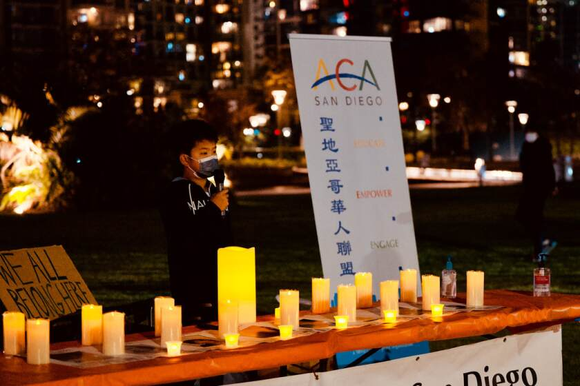 Joshua, a Carmel Valley 11-year-old, spoke at the Alliance of Chinese Americans San Diego's downtown vigil.