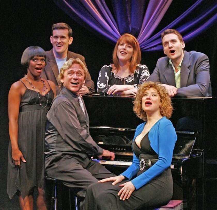 """In this theater publicity image released by David Gersten and Associates, actors, from left, Monica L. Patton, Kevin Vortmann, Ken Lundie, Trisha Rapier, Dominique Plaisant and Glenn Seven Allen appear in """"For Lovers Only (Love Songs ... Nothing But Love Songs)"""" now playing off-Broadway at New World Stages in New York. (AP Photo/David Gersten and Associates, Carol Rosegg)"""