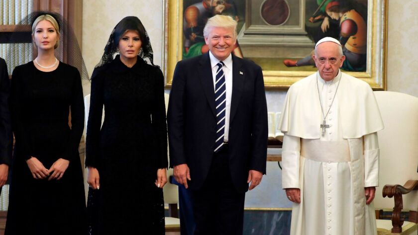 Pope Francis with President Trump, First Lady Melania Trump and Ivanka Trump on May 24, 2017, at the Vatican.