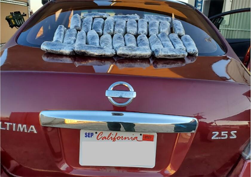 U.S. Border Patrol agents seized nearly $67,000 worth of methamphetamine from this Nissan on Friday near the Salton Sea.