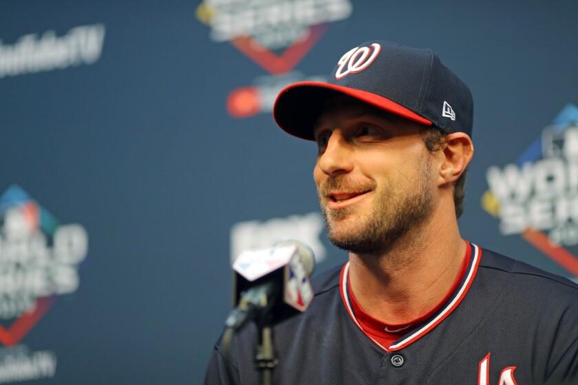 Washington Nationals starter Max Scherzer speaks during a news conference Monday.