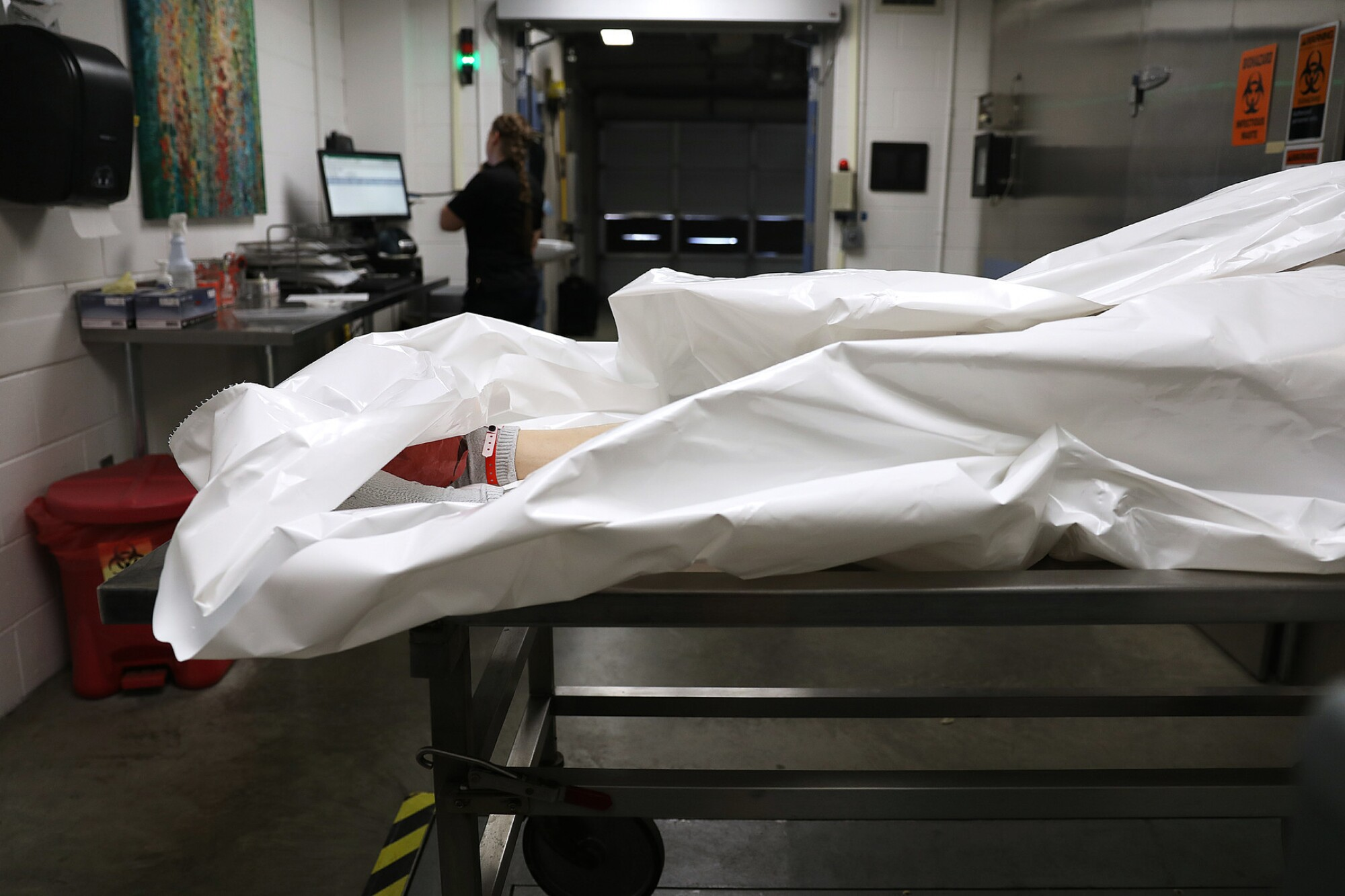 A body at the Pierce County medical examiner's office in Tacoma, Wash.