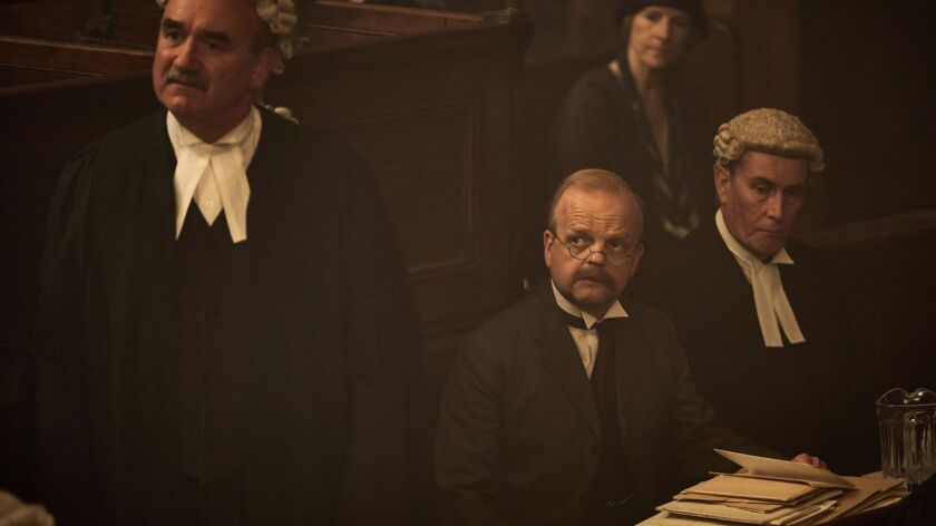 "Toby Jones (center) plays a lawyer in over his head in a new BBC adaptation of Agatha Christie's ""Witness for the Prosecution."""