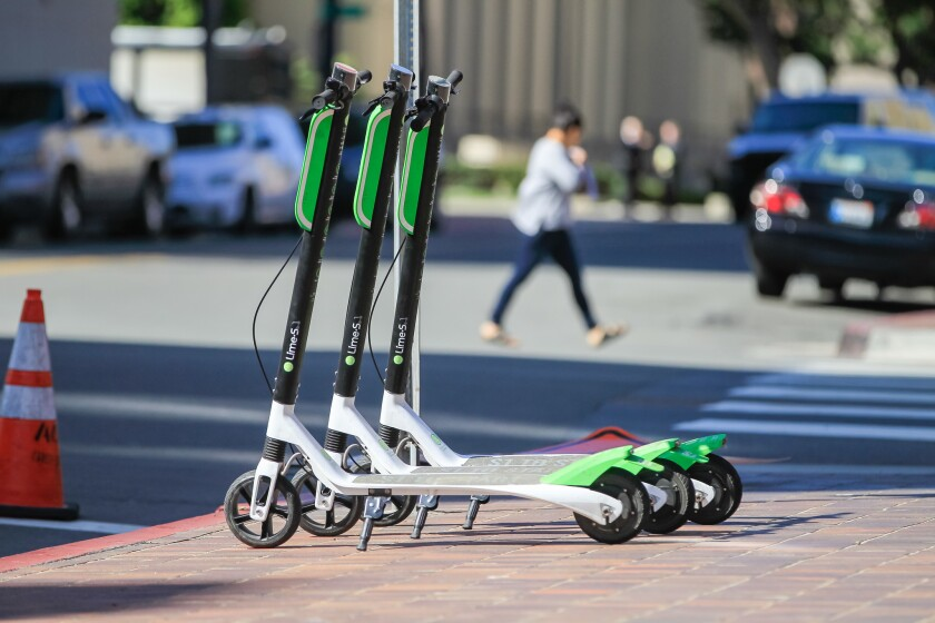 Lime scooters for rent in dowtown San Diego.