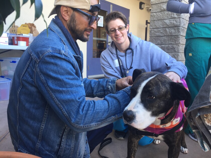 Michael Austin (left) and registered veterinarian technician Logan Gonella put a pet jacket on Austin's dog, Chloe, at a Street Dog Coalition clinic in Ocean Beach.