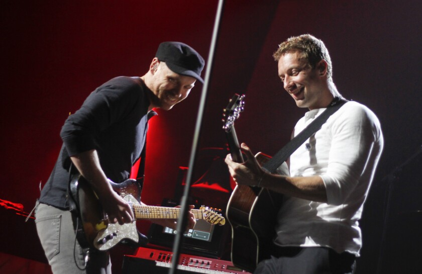 Coldplay's Jonny Buckland and Chris Martin