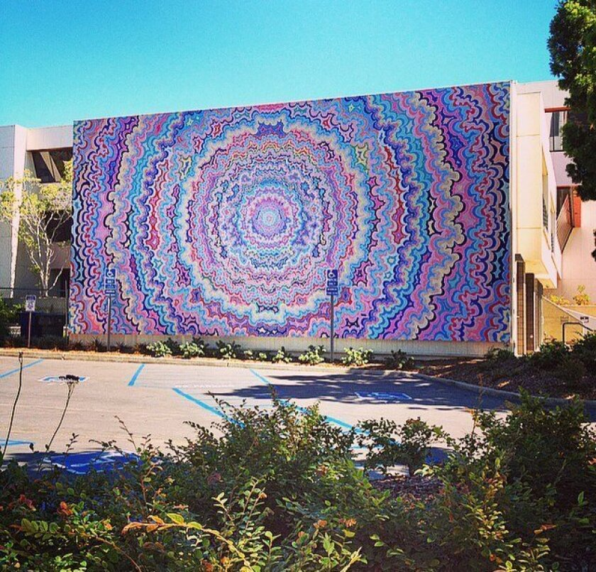 'One Pointed Attention' by Kelsey Brookes was installed in august at 7835 Ivanhoe Ave. It joined 12 existing murals in the Murals of La Jolla public art project.