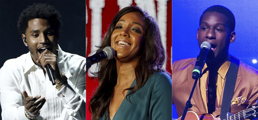 This image shows, from left, Trey Songz, Mickey Guyton and Leon Bridges