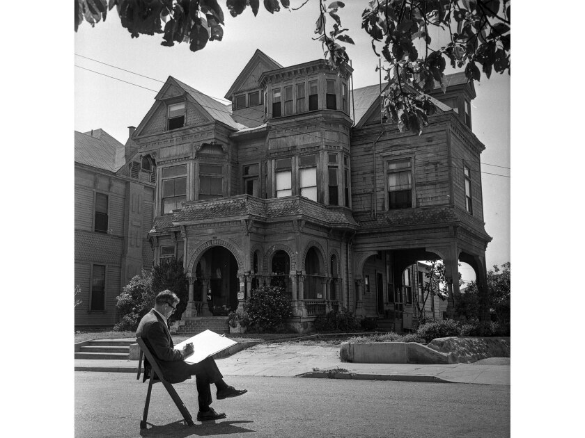 May 17, 1964: Artist Leo Politi sketches by the Castle at 325 Bunker Hill Ave., designated a historic-cultural monument by the city Heritage Board.