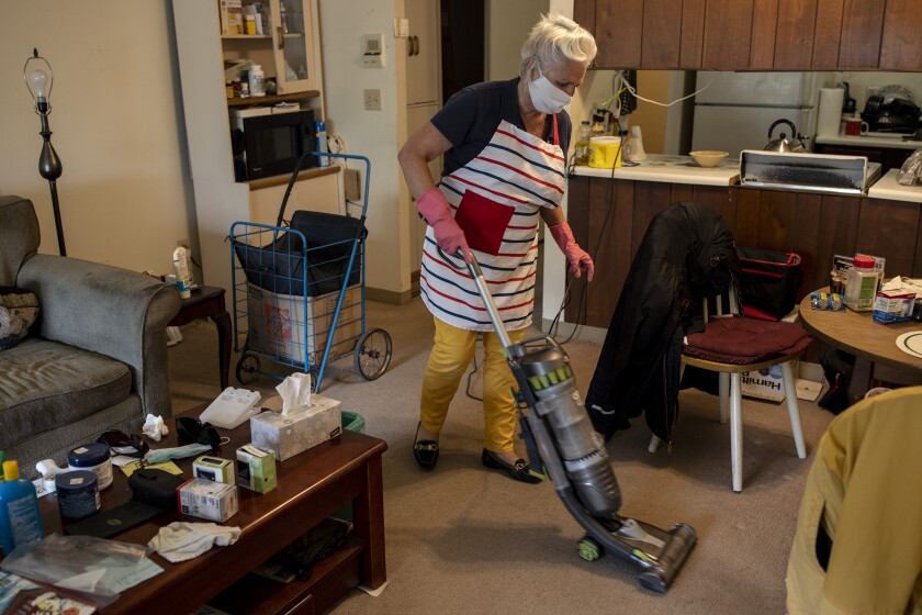 McAuliffe visits two clients a day and helps with their housekeeping.