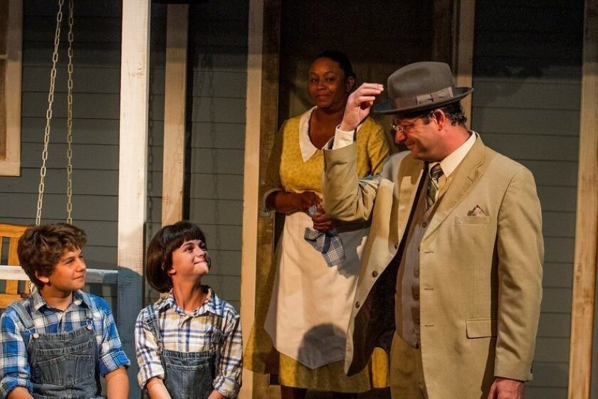 "Dylan Nalbandian as Jem, Katelyn Katz as Scout, Yolanda Franklin as Calpurnia, and Manny Fernandes as Atticus in New Village Arts' ""To Kill a Mockingbird."""