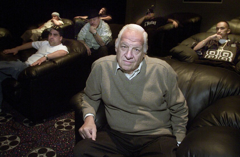 Jerry Heller is seen in 2001 at the offices of his label, Hit A Lick Records. Heller died Friday at 75.