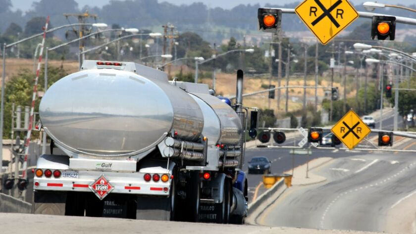 A gasoline tanker truck shown in 2008.