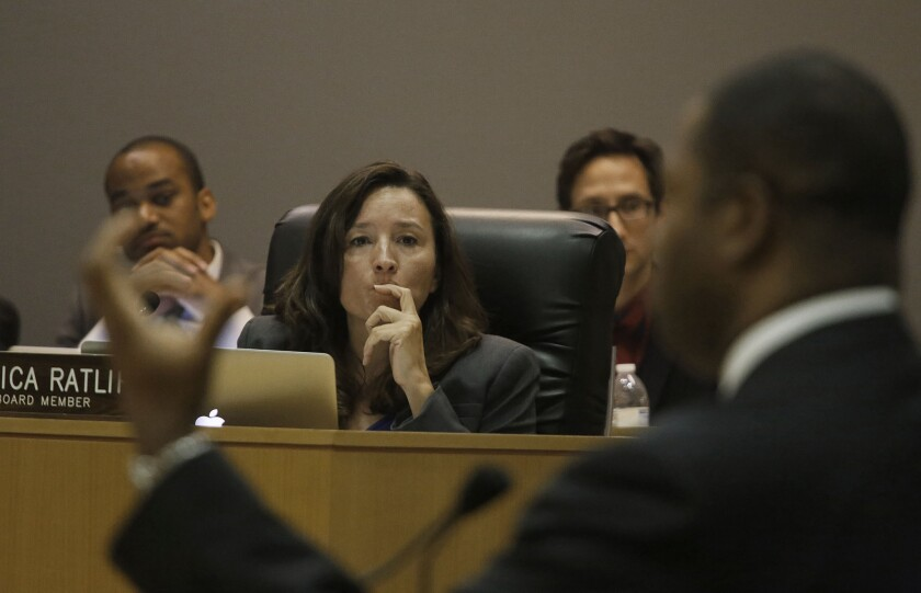 L.A. Unified board member Monica Ratliff, shown at a meeting last year, had called for the dismissal of an attorney who suggested that a 14-year-old was partly to blame for having sex with a teacher. The district confirmed Tuesday that the attorney, W. Keith Wyatt, had been fired.
