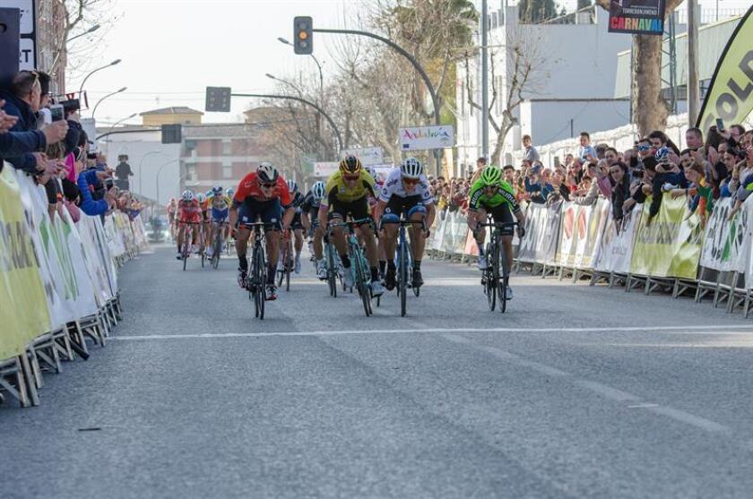 Llegada a meta de los corredores Iván Garcia Cortina, del Bahrain Merida (i), Danny van Poppel, del Team Jumbo (2i), Enrique Sanz, del Euskadi Murias (d), y el italiano Matteo Trentin, del Mitchelton-SCOTT (2d), momentos antes de conseguir la victoria en esta segunda etapa de la 65 edición de la Vuelta Ciclista a Andalucía, disputada entre Sevilla y Torredonjimeno (Jaén) y que resolvió al esprint con un tiempo de 5 horas, 55 minutos y 28 segundos en los 216 kilómetros de trazado. EFE