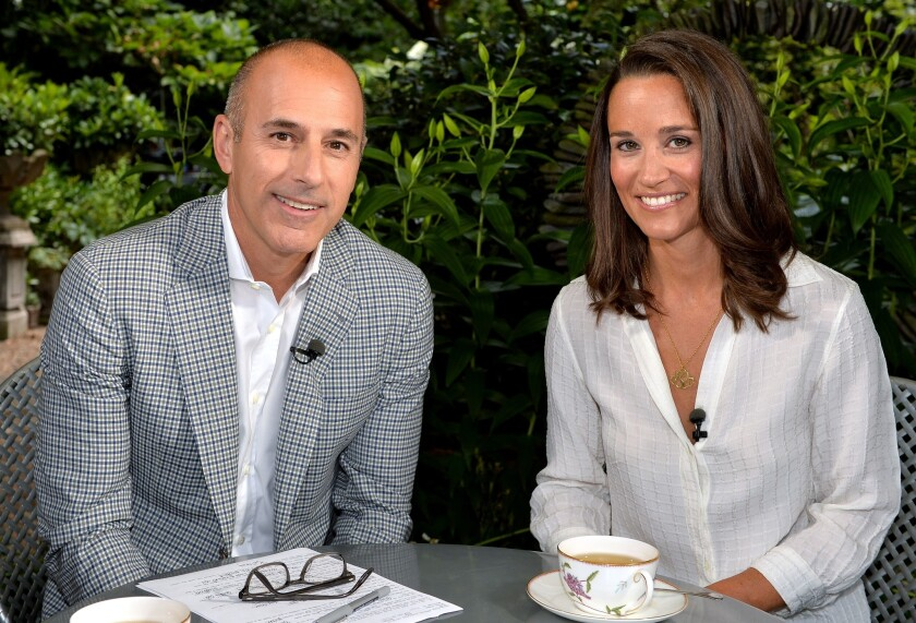 """Matt Lauer, co-host of the """"Today"""" show, with Pippa Middleton in London."""