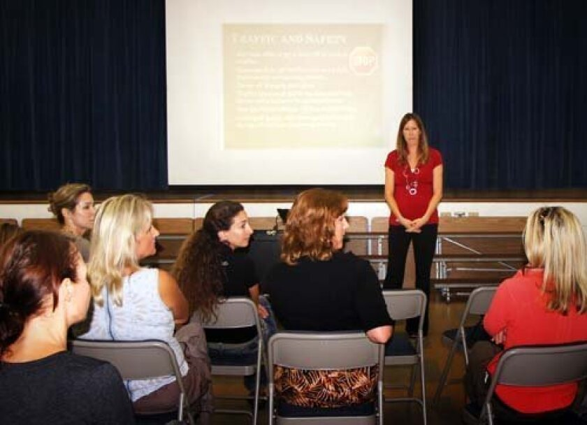 BRE Principal Sally Viavada listens to what parents have to say. Photo: Pearl Preis