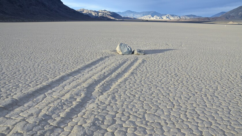 The Racetrack, in the outback of Death Valley, is where a unique combination of cold, wind and water causes some rocks to gradually slide across the usually dry old lake bed.