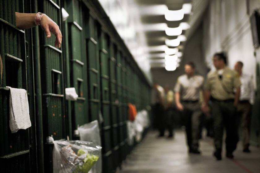 A row of cells at the L.A. County Men's Central Jail.