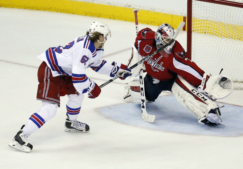 A penalty shot by New York Rangers left wing Carl Hagelin (62), from Sweden, is caught by Washington Capitals goalie Braden Holtby (70) during the third period of Game 4 in the second round of the NHL Stanley Cup hockey playoffs, Wednesday, May 6, 2015, in Washington.  The Capitals won 2-1. (AP Pho