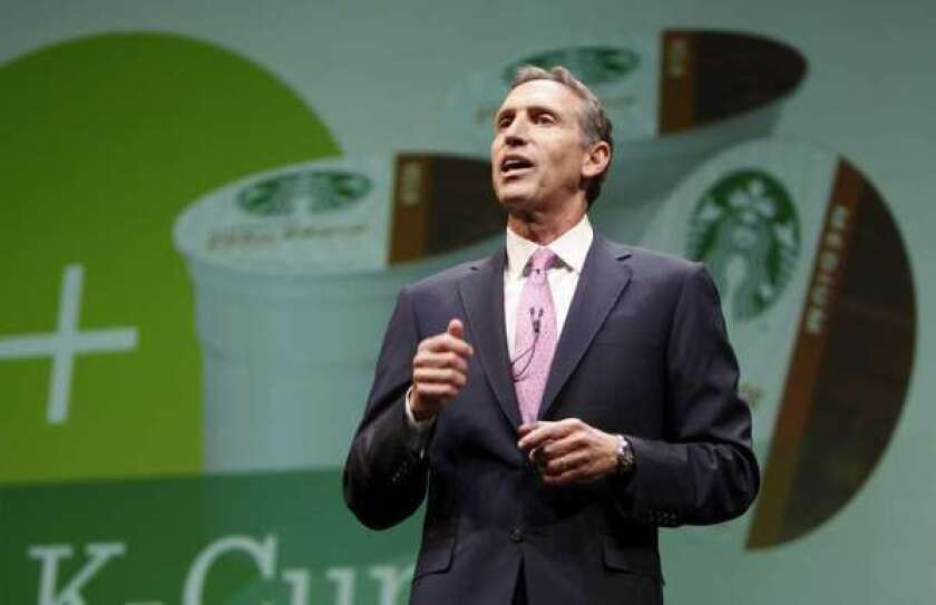 Howard Schultz, president and chief executive officer of Starbucks Corp., speaks during the company's annual meeting in Seattle in 2011.
