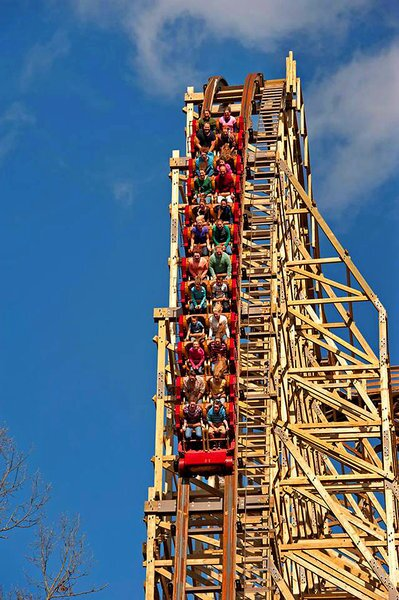 """The Outlaw Run wooden, looping coaster in Branson, Mo., is Silver Dollar City's new offering for summer 2013. The theme park bills the ride as """"the world's most daring wood coaster."""""""