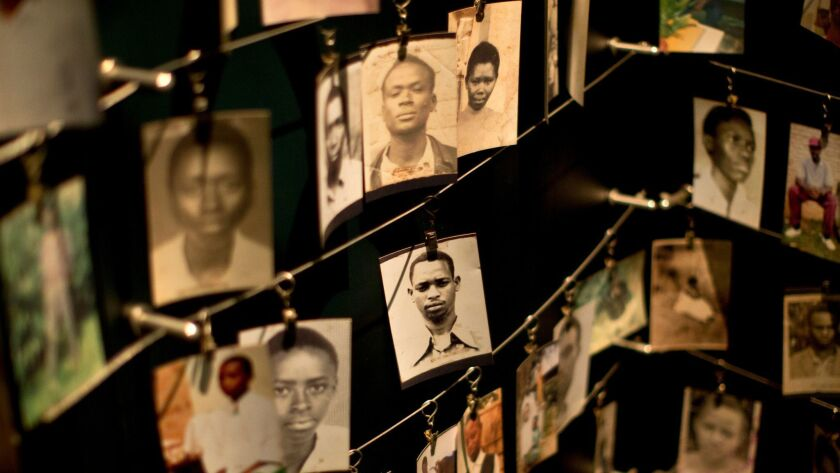 Family photographs of some of those who died are displayed in the Kigali Genocide Memorial Center in Rwanda's capital, Kigali, in 2014.