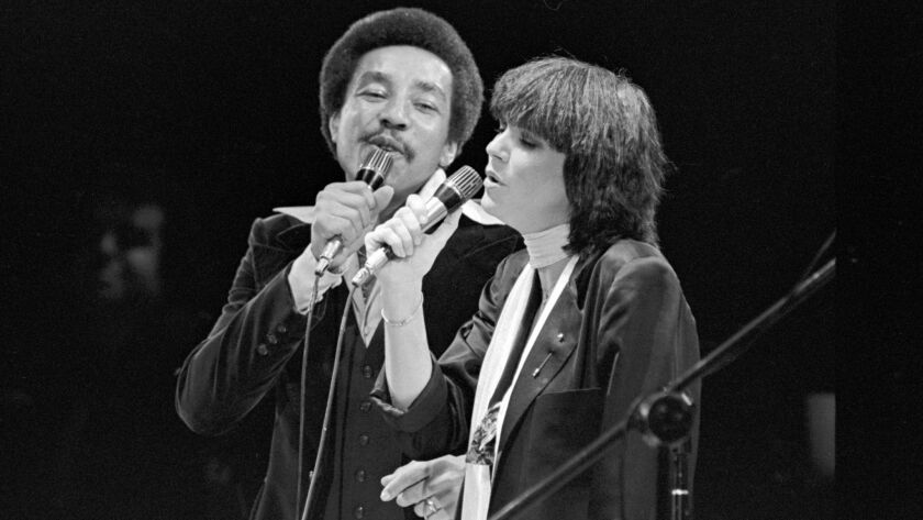 "Dec. 23 1978: Linda Ronstadt and Smokey Robinson performing ""Ooh Baby Baby,"" at the Forum in Inglewo"