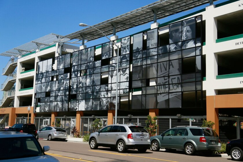 The Chavez Campus Car Park in Barrio Logan features photos Carlos LeGerrette shot of many leaders in the fight for farm workers' rights.
