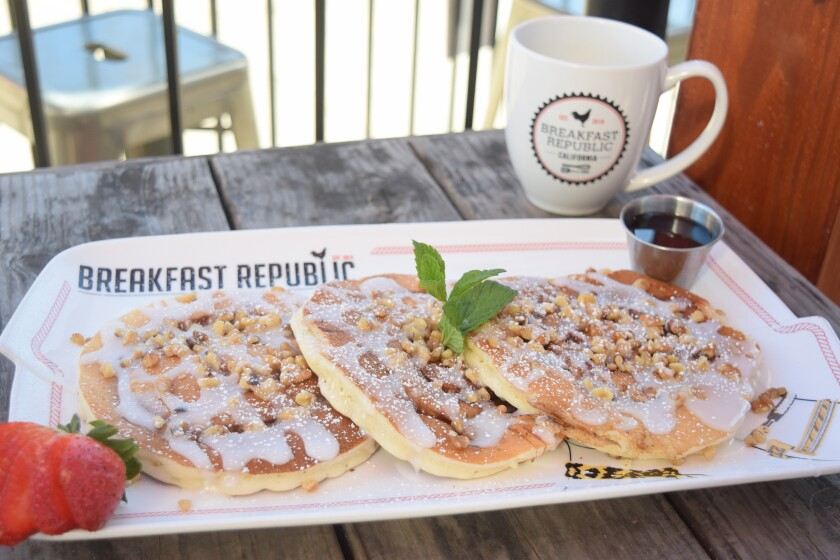Cinnamon roll pancakes, one of the available menu items to choose from with Breakfast Republic's Mother's Day family-style brunch