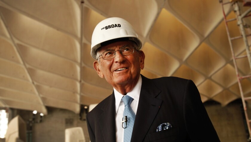 Philanthropist Eli Broad stands in the main gallery of the Broad museum during its construction in 2013.