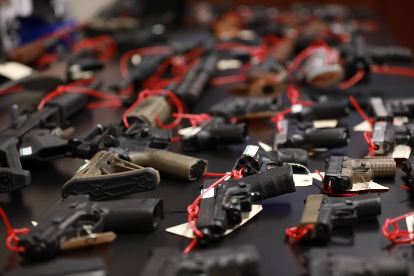 Dozens of guns were seized in a law enforcement operation targeting the Norteno street gang in central California.