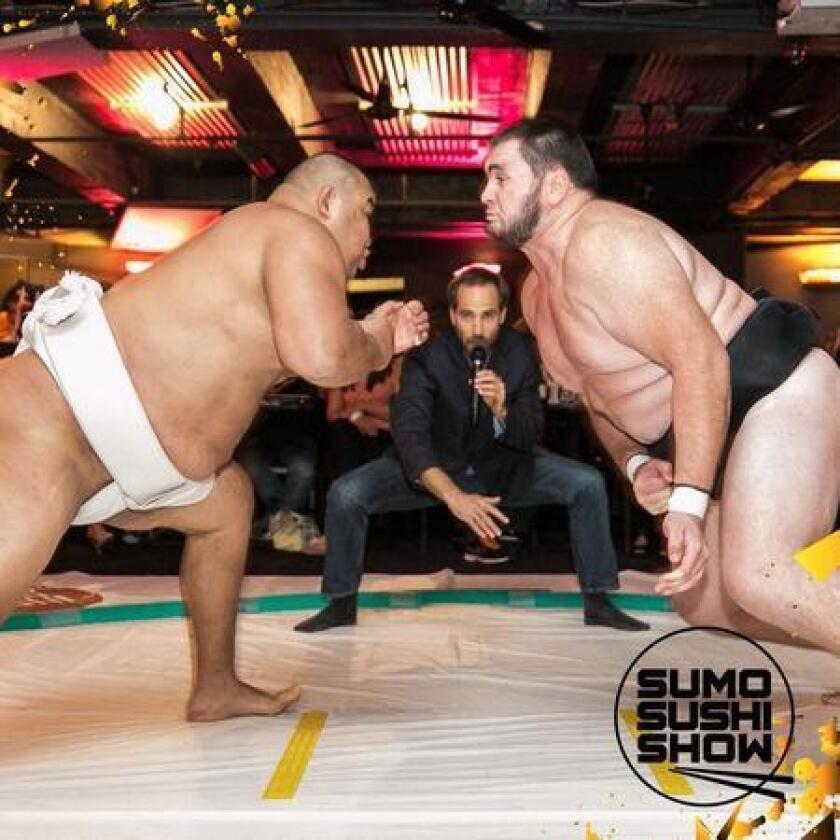 Sushi/Sumo wrestling event (Drew Angerer)