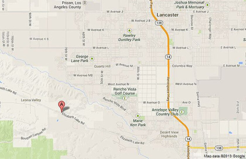 Map shows the approximate location of a fatal accident in the Palmdale area.
