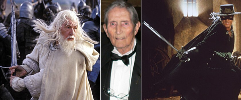 "Bob Anderson, center, carved out a more-than-50-year career as a fencing trainer to the stars and a movie sword-fight choreographer. At left is Sir Ian McKellen as Gandalf in ""The Lord of the Rings: The Return of the King"" and at right is Antonio Banderas in ""The Mask of Zorro."""